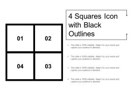 4 Squares Icon With Black Outlines