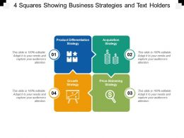 4 Squares Showing Business Strategies And Text Holders
