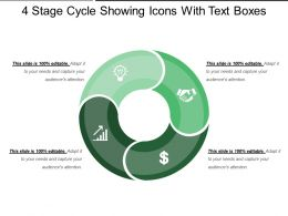 4 Stage Cycle Showing Icons With Text Boxes