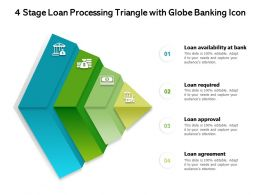 4 Stage Loan Processing Triangle With Globe Banking Icon