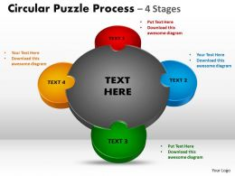 4 Stages Circular diagram Puzzle Process 8