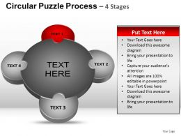 4 Stages Circular Puzzle Process Powerpoint Slides And ppt Templates 0412