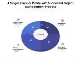 4 Stages Circular Puzzle With Successful Project Management Process