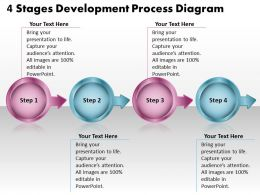 4 Stages Development Process Diagram Flowchart Free Powerpoint Templates