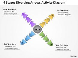 4 stages diverging arrows activity diagram Circular Layout Process PowerPoint Slides