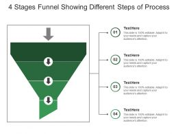 4 Stages Funnel Showing Different Steps Of Process