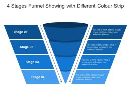 4 Stages Funnel Showing With Different Colour Strip