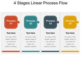 4 Stages Linear Process Flow Powerpoint Templates