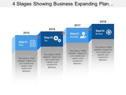 4 Stages Showing Business Expanding Plan With Plan And Development