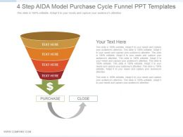 4 Step Aida Model Purchase Cycle Funnel Ppt Templates
