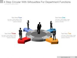 4 Step Circular With Silhouettes For Department Functions Ppt Slide
