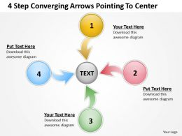4 step converging arrows poiting to center Charts and PowerPoint templates