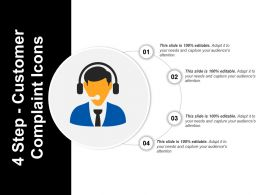 4 Step Customer Complaint Icons Powerpoint Graphics