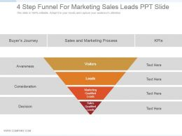 4 Step Funnel For Marketing Sales Leads Ppt Slide