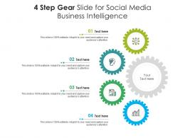 4 Step Gear Slide For Social Media Business Intelligence Infographic Template
