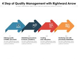 4 Step Of Quality Management With Rightward Arrow