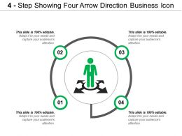 4 Step Showing Four Arrow Direction Business Icon
