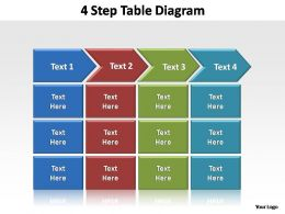 4 step table diagram editable powerpoint templates