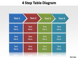 4 step table diagram editable powerpoint templates