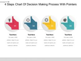 4 Steps Chart Of Decision Making Process With Pointers Powerpoint Slide Presentation Examples