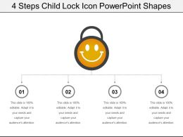 4 Steps Child Lock Icon Powerpoint Shapes