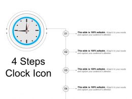 4 Steps Clock Icon Powerpoint Slide Template