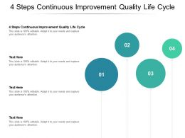 4 Steps Continuous Improvement Quality Life Cycle Ppt Powerpoint Presentation Portfolio Brochure Cpb