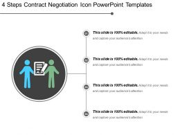 4 Steps Contract Negotiation Icon Powerpoint Templates