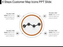4 Steps Customer Map Icons Ppt Slide