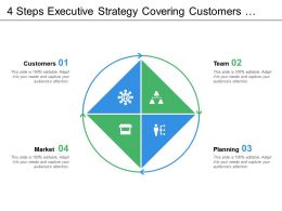 4 Steps Executive Strategy Covering Customers Team Planning Market Opportunities And Analysis