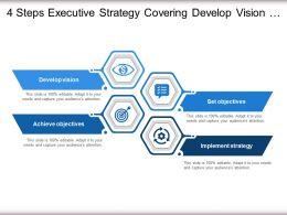 4 Steps Executive Strategy Covering Develop Vision Objectives And Implement Strategy