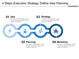 4 Steps Executive Strategy Define Idea Planning Strategy Marketing Finance And Success