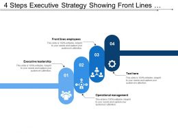 4 Steps Executive Strategy Showing Front Lines Employees Operational Management Leadership