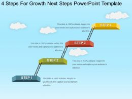 4 Steps For Growth Next Steps Powerpoint Template