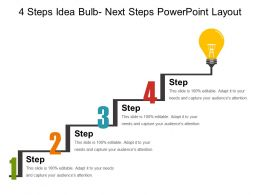 4 Steps Idea Bulb Next Steps Powerpoint Layout