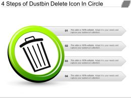 4 Steps Of Dustbin Delete Icon In Circle