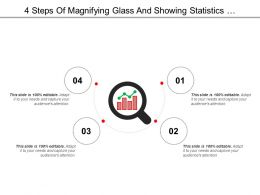 4 Steps Of Magnifying Glass And Showing Statistics Performance Icon