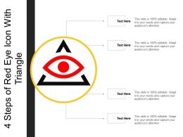 4 Steps Of Red Eye Icon With Triangle