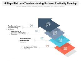 4 Steps Staircase Timeline Showing Business Continuity Planning