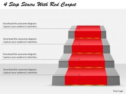 4 Steps Stairs With Carpet Powerpoint Template Slide
