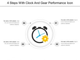 4 Steps With Clock And Gear Performance Icon
