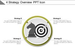 4 Strategy Overview Ppt Icon