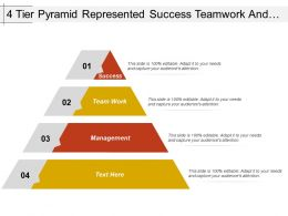 4 Tier Pyramid Represented Success Teamwork And Management