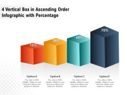 4 Vertical Box In Ascending Order Infographic With Percentage