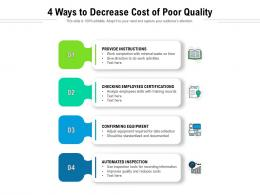 4 Ways To Decrease Cost Of Poor Quality