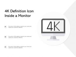 4k Definition Icon Inside A Monitor