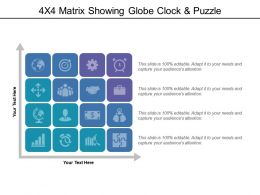 4x4 Matrix Showing Globe Clock And Puzzle