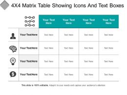 4x4 Matrix Table Showing Icons And Text Boxes