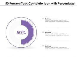 50 Percent Task Complete Icon With Percentage