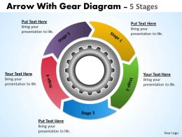 55 Illustration Of 5 Stages Multicolored Flow Chart With Gears
